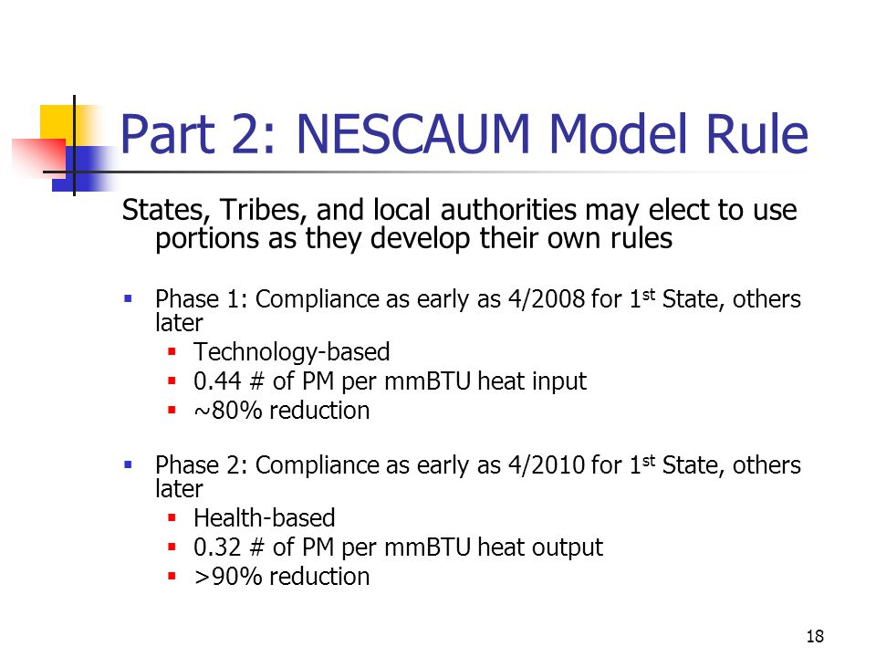 18 Part 2: NESCAUM Model Rule States, Tribes, and local authorities may elect to use portions as they develop their own rules  Phase 1: Compliance as early as 4/2008 for 1 st State, others later  Technology-based  0.44 # of PM per mmBTU heat input  ~80% reduction  Phase 2: Compliance as early as 4/2010 for 1 st State, others later  Health-based  0.32 # of PM per mmBTU heat output  >90% reduction