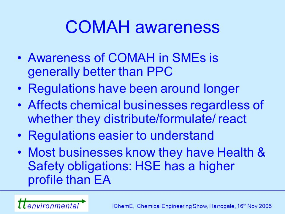 IChemE, Chemical Engineering Show, Harrogate, 16 th Nov 2005 COMAH awareness Awareness of COMAH in SMEs is generally better than PPC Regulations have been around longer Affects chemical businesses regardless of whether they distribute/formulate/ react Regulations easier to understand Most businesses know they have Health & Safety obligations: HSE has a higher profile than EA