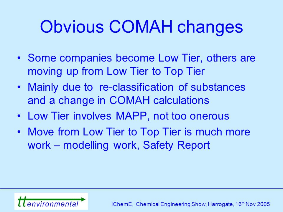 IChemE, Chemical Engineering Show, Harrogate, 16 th Nov 2005 Obvious COMAH changes Some companies become Low Tier, others are moving up from Low Tier to Top Tier Mainly due to re-classification of substances and a change in COMAH calculations Low Tier involves MAPP, not too onerous Move from Low Tier to Top Tier is much more work – modelling work, Safety Report