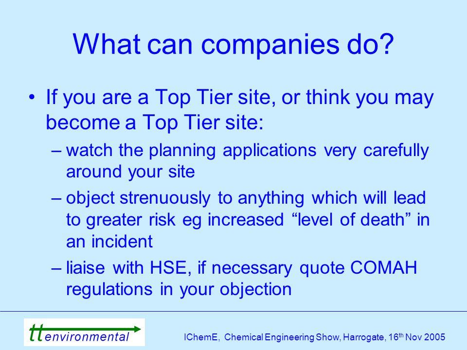 IChemE, Chemical Engineering Show, Harrogate, 16 th Nov 2005 What can companies do.
