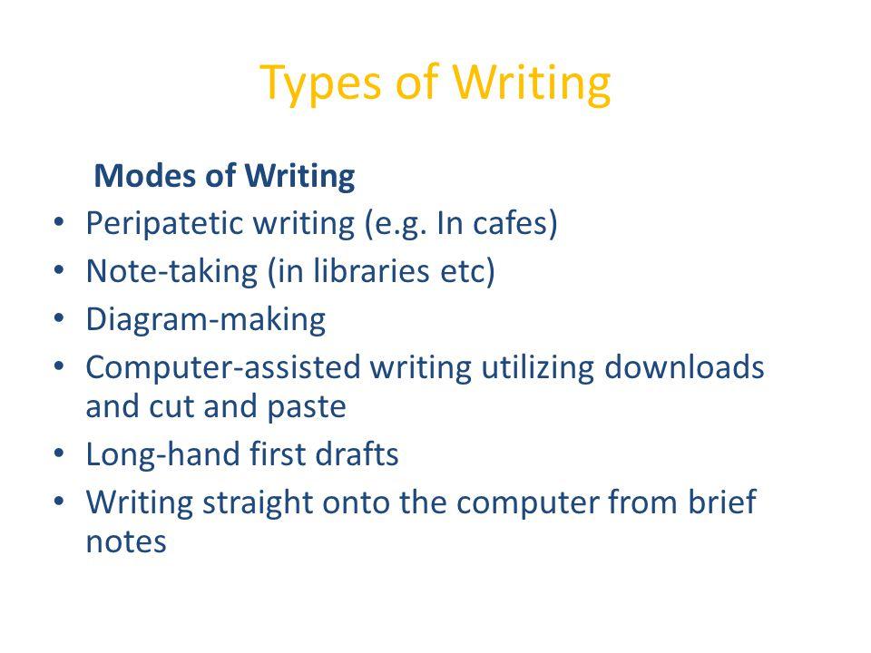 Types of Writing Modes of Writing Peripatetic writing (e.g.