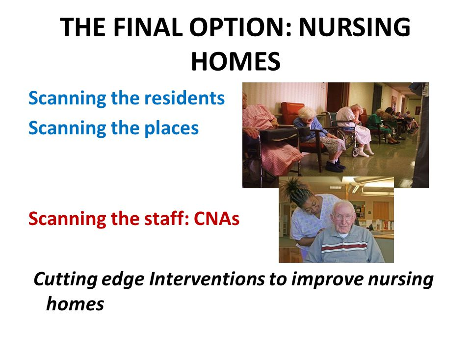 THE FINAL OPTION: NURSING HOMES Scanning the residents Scanning the places Scanning the staff: CNAs Cutting edge Interventions to improve nursing home
