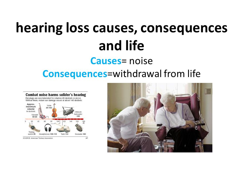 hearing loss causes, consequences and life Causes= noise Consequences=withdrawal from life