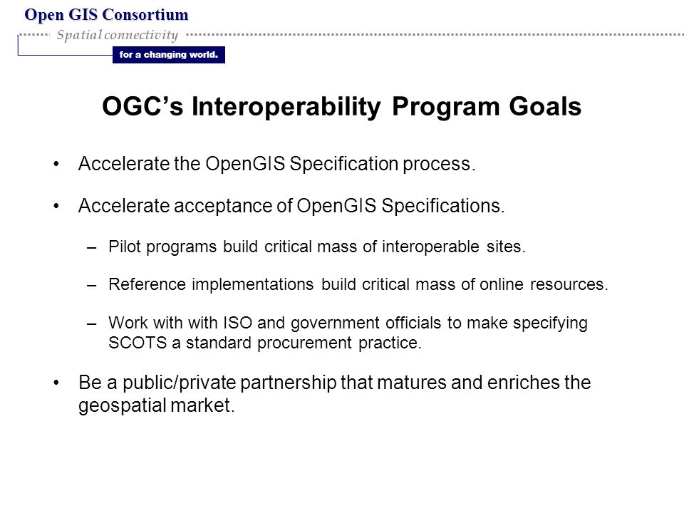 Open GIS Consortium for a changing world. Spatial connectivity OGC's Interoperability Program Goals Accelerate the OpenGIS Specification process. Acce