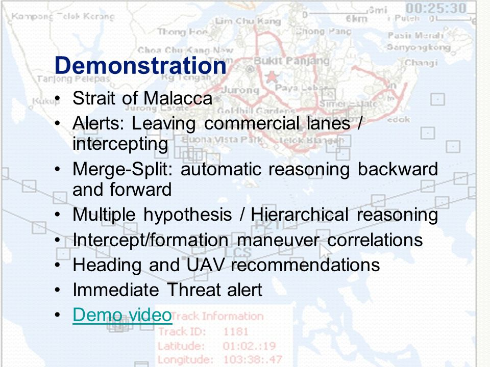 Demonstration Strait of Malacca Alerts: Leaving commercial lanes / intercepting Merge-Split: automatic reasoning backward and forward Multiple hypothesis / Hierarchical reasoning Intercept/formation maneuver correlations Heading and UAV recommendations Immediate Threat alert Demo video