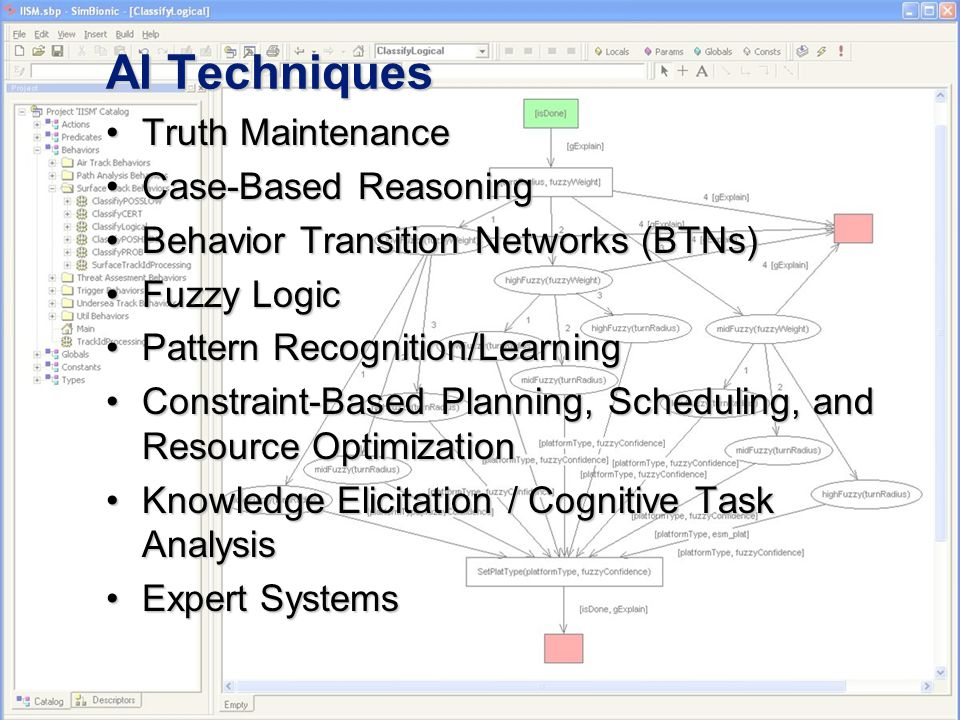 AI Techniques Truth MaintenanceTruth Maintenance Case-Based ReasoningCase-Based Reasoning Behavior Transition Networks (BTNs)Behavior Transition Networks (BTNs) Fuzzy LogicFuzzy Logic Pattern Recognition/LearningPattern Recognition/Learning Constraint-Based Planning, Scheduling, and Resource OptimizationConstraint-Based Planning, Scheduling, and Resource Optimization Knowledge Elicitation / Cognitive Task AnalysisKnowledge Elicitation / Cognitive Task Analysis Expert SystemsExpert Systems