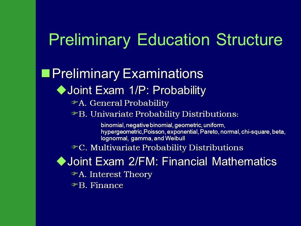 Preliminary Education Structure Preliminary Examinations Preliminary Examinations  Joint Exam 1/P: Probability FA.