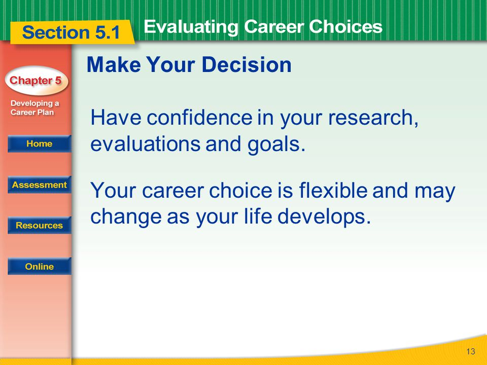 13 Make Your Decision Have confidence in your research, evaluations and goals.