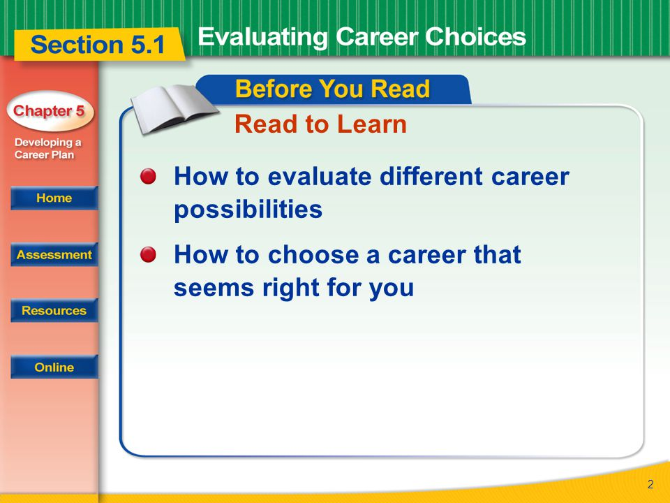 2 Read to Learn How to evaluate different career possibilities How to choose a career that seems right for you