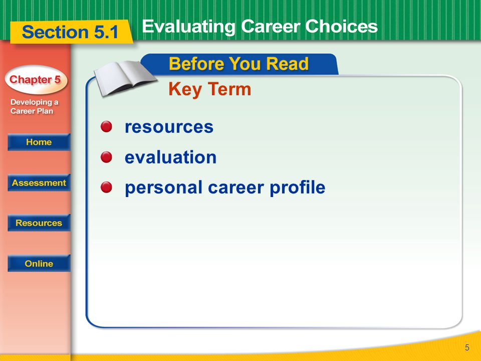 5 Key Term resources evaluation personal career profile