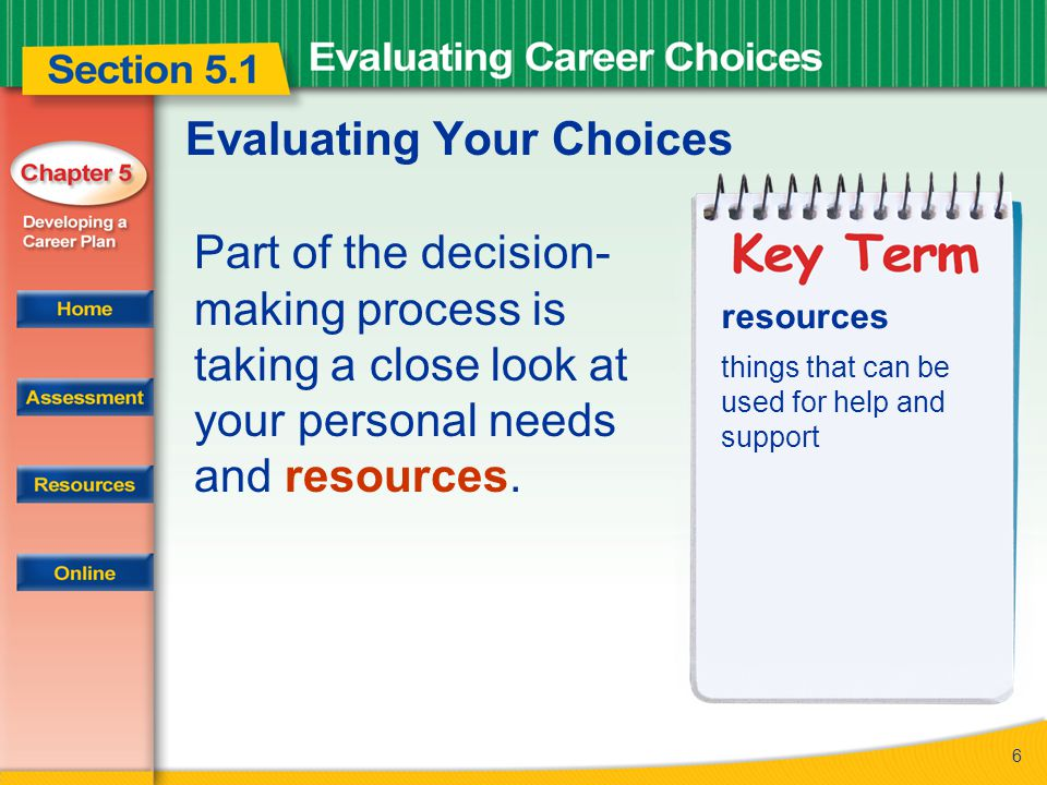 7 Evaluating Your Choices The next step in the decision-making process is evaluation.
