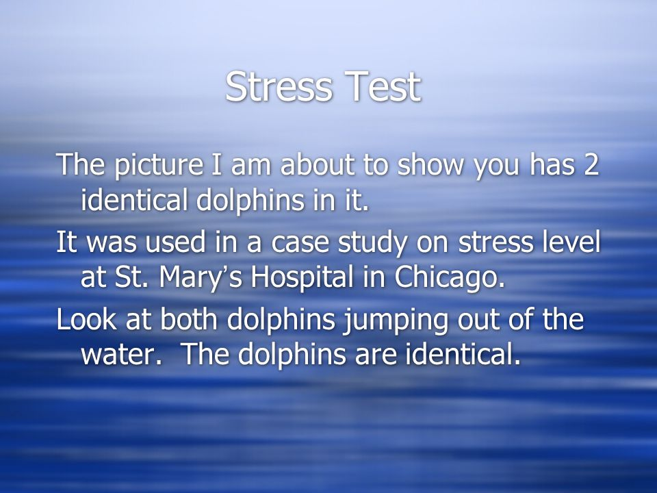 Stress Test The picture I am about to show you has 2 identical dolphins in it. It was used in a case study on stress level at St. Mary's Hospital in C