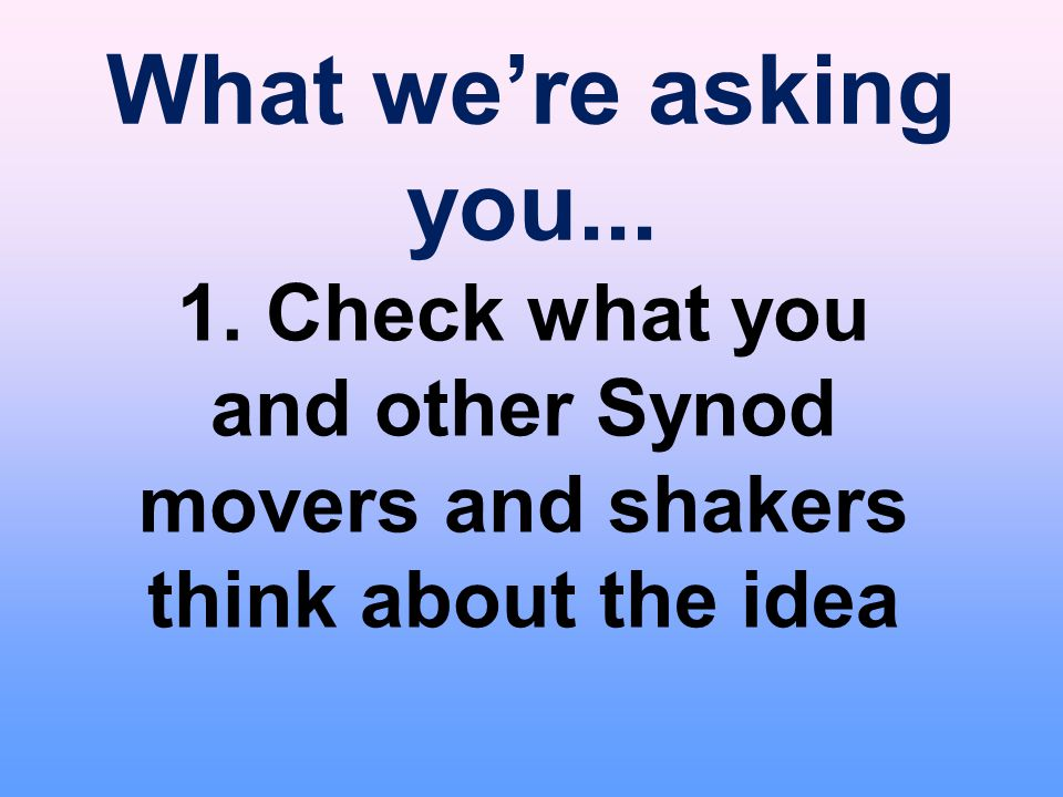 What we're asking you... 1. Check what you and other Synod movers and shakers think about the idea