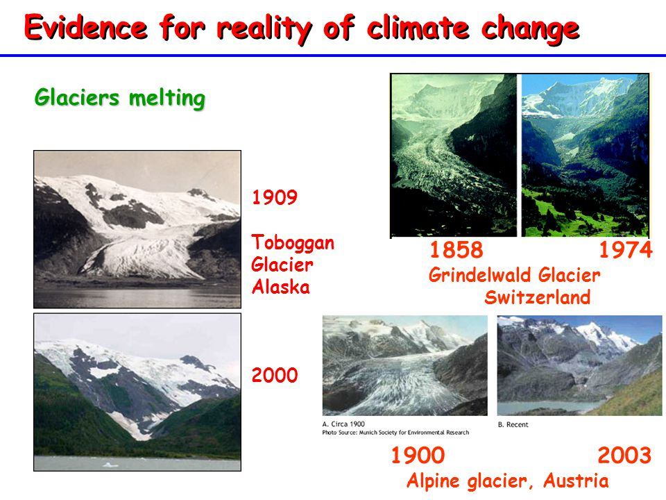 Evidence for reality of climate change Glaciers melting 1900 2003 Alpine glacier, Austria 1900 2003 Alpine glacier, Austria 1858 1974 Grindelwald Glacier Switzerland 1858 1974 Grindelwald Glacier Switzerland 1909 Toboggan Glacier Alaska 2000
