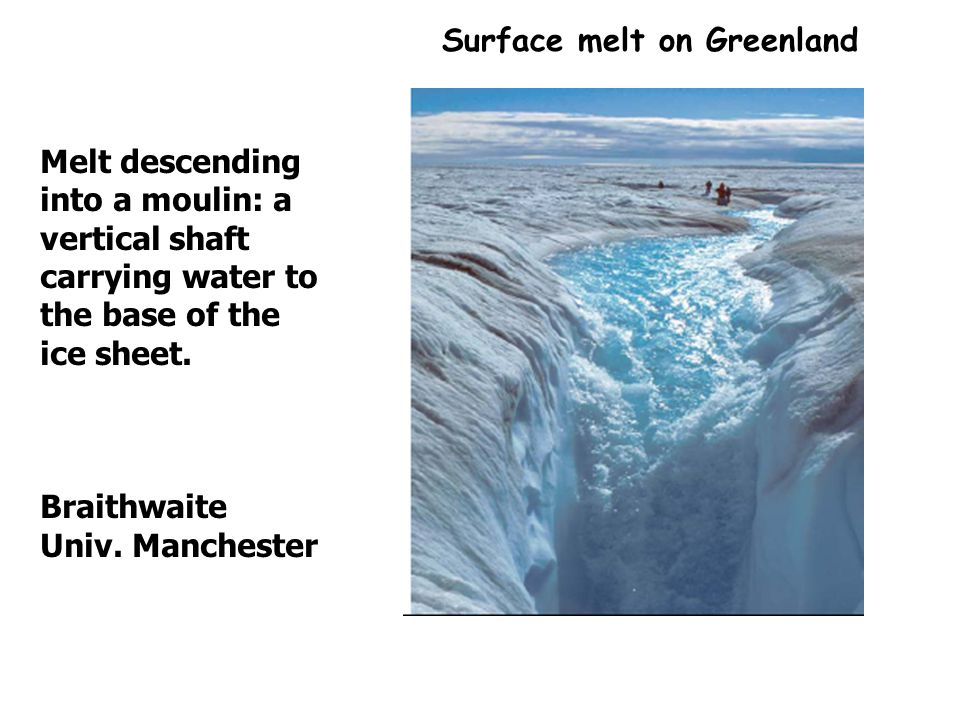 Surface melt on Greenland Melt descending into a moulin: a vertical shaft carrying water to the base of the ice sheet.
