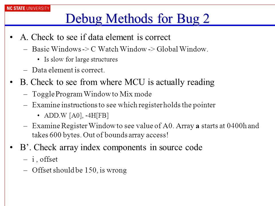 Debug Methods for Bug 2 A.