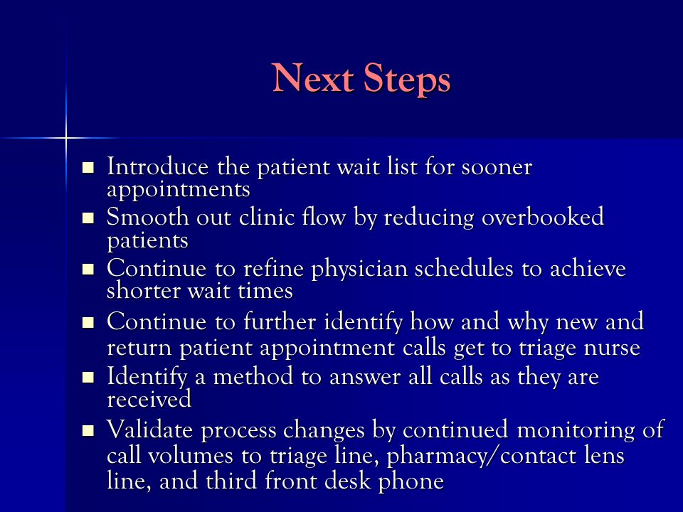 Next Steps Introduce the patient wait list for sooner appointments Introduce the patient wait list for sooner appointments Smooth out clinic flow by reducing overbooked patients Smooth out clinic flow by reducing overbooked patients Continue to refine physician schedules to achieve shorter wait times Continue to refine physician schedules to achieve shorter wait times Continue to further identify how and why new and return patient appointment calls get to triage nurse Continue to further identify how and why new and return patient appointment calls get to triage nurse Identify a method to answer all calls as they are received Identify a method to answer all calls as they are received Validate process changes by continued monitoring of call volumes to triage line, pharmacy/contact lens line, and third front desk phone Validate process changes by continued monitoring of call volumes to triage line, pharmacy/contact lens line, and third front desk phone