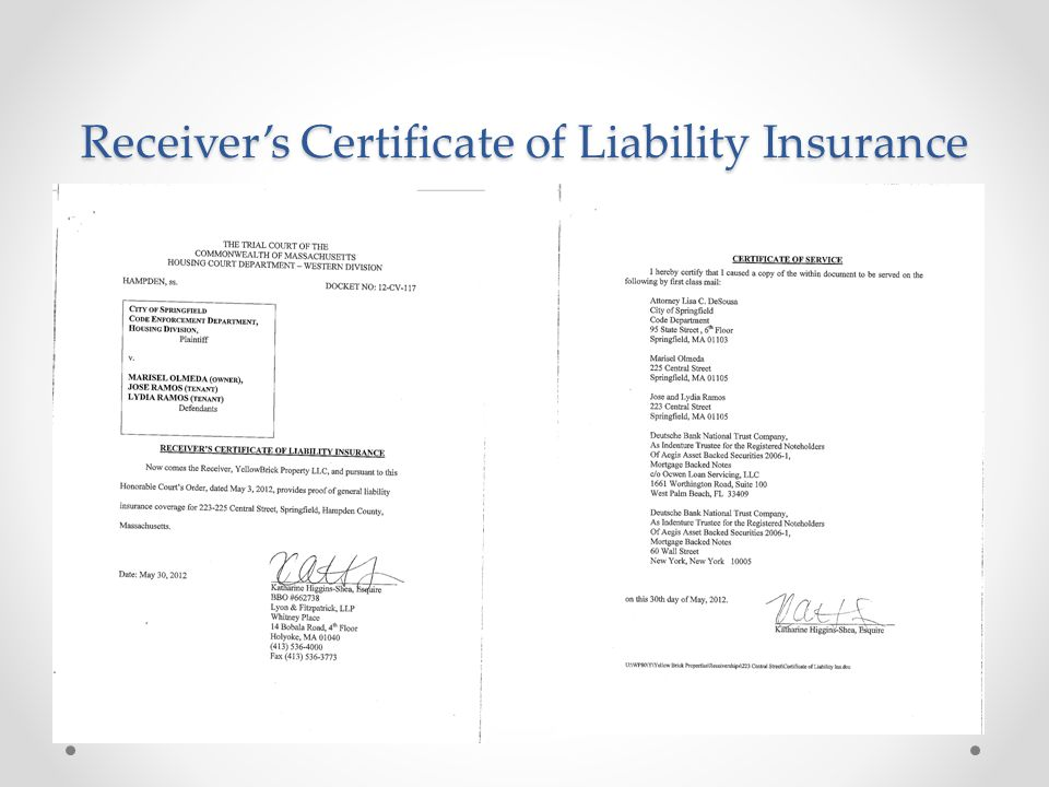 Receiver's Certificate of Liability Insurance
