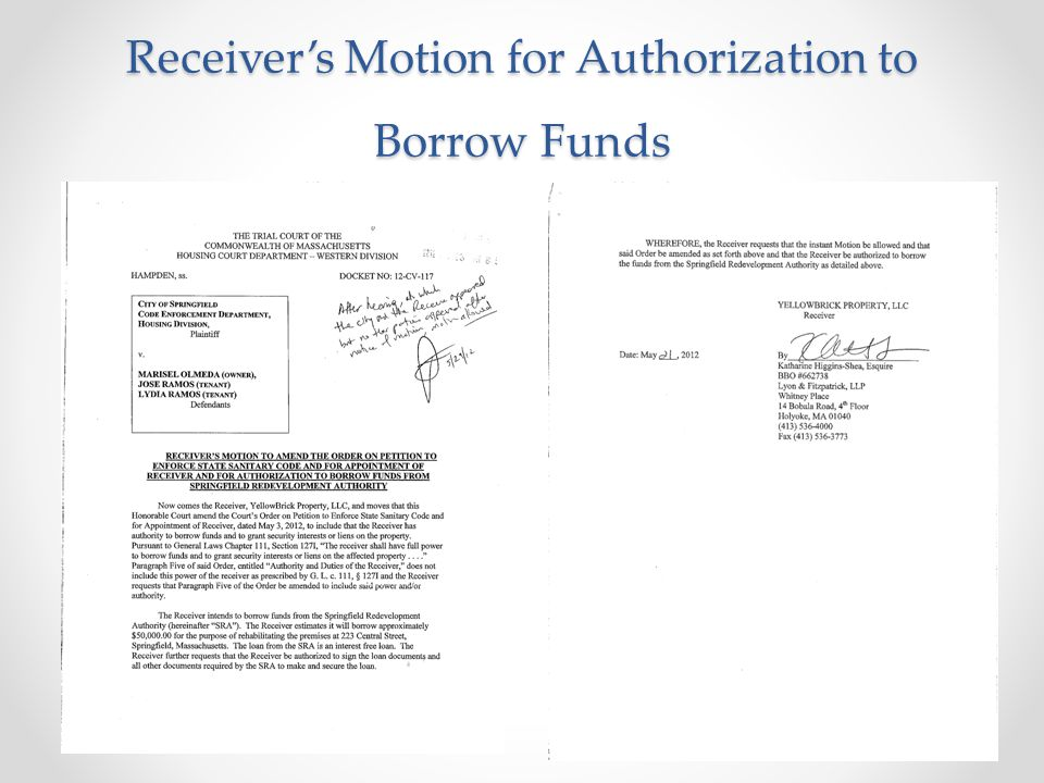 Receiver's Motion for Authorization to Borrow Funds