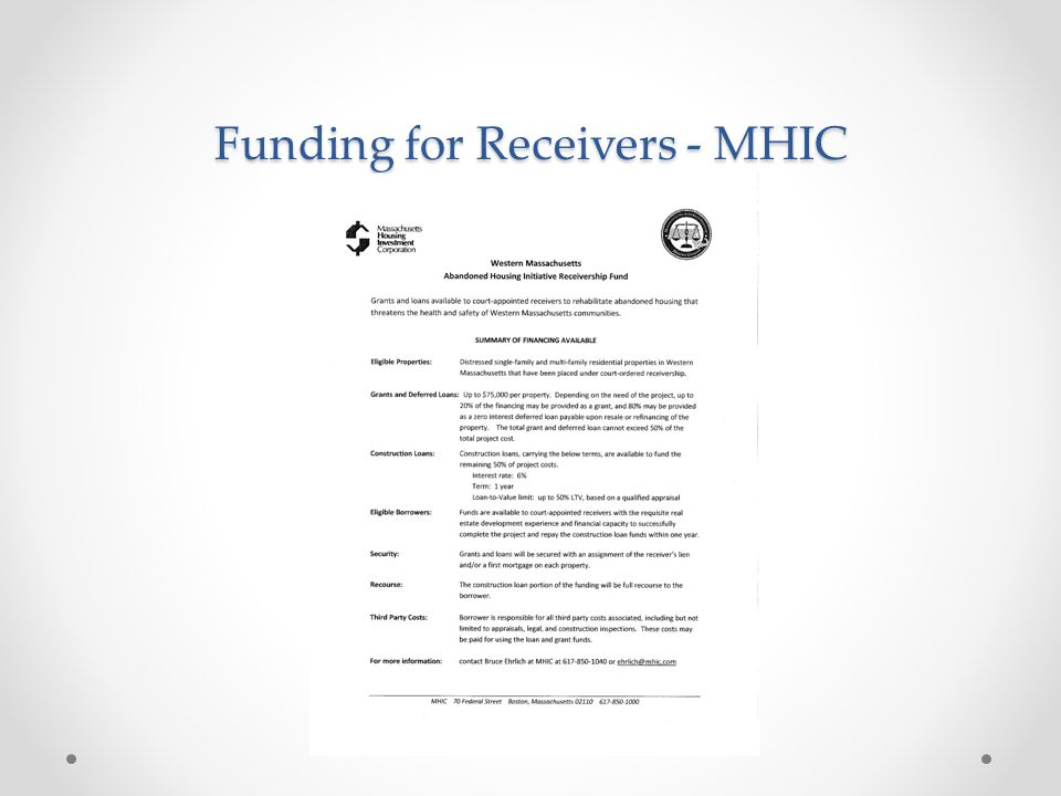 Funding for Receivers - MHIC