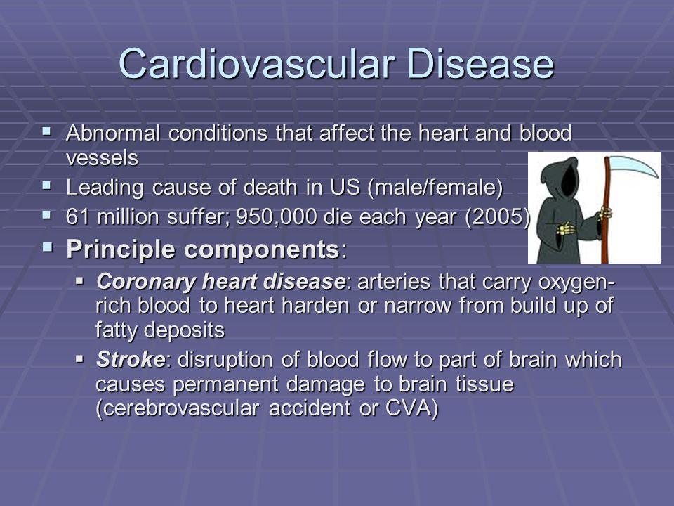 Cardiovascular Disease  Abnormal conditions that affect the heart and blood vessels  Leading cause of death in US (male/female)  61 million suffer; 950,000 die each year (2005)  Principle components:  Coronary heart disease: arteries that carry oxygen- rich blood to heart harden or narrow from build up of fatty deposits  Stroke: disruption of blood flow to part of brain which causes permanent damage to brain tissue (cerebrovascular accident or CVA)
