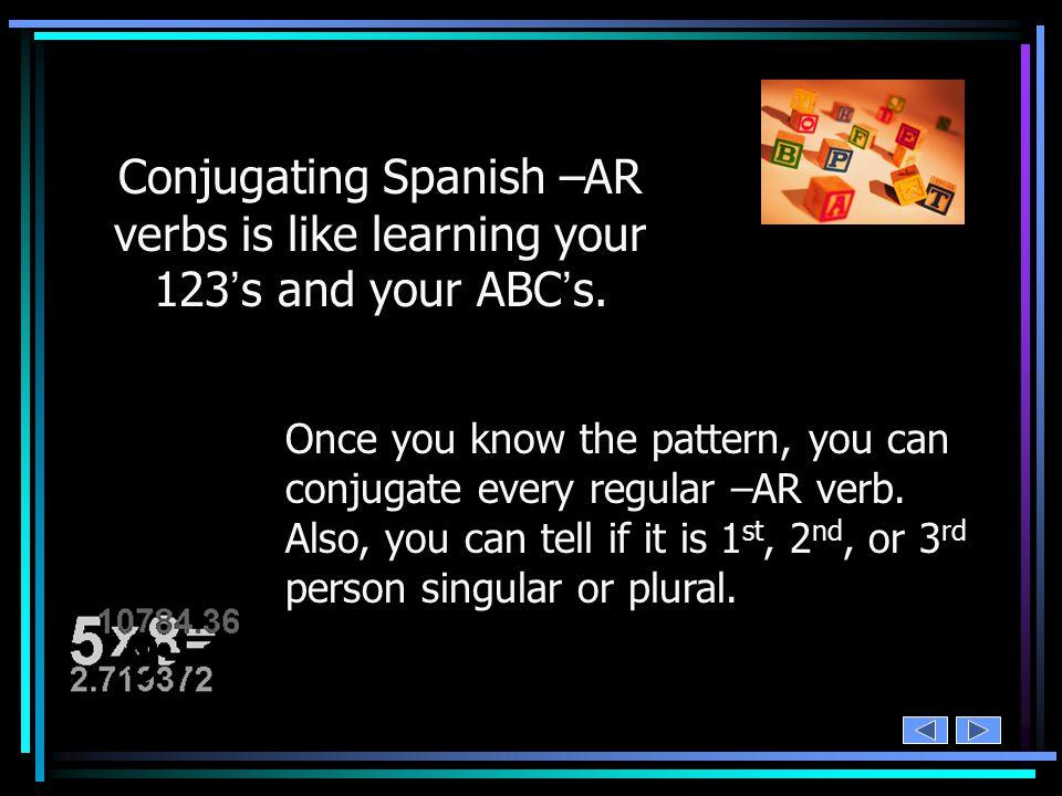 add your subject pronouns cocinar – ar = cocin o as a amo s áis an yo tú Ud.