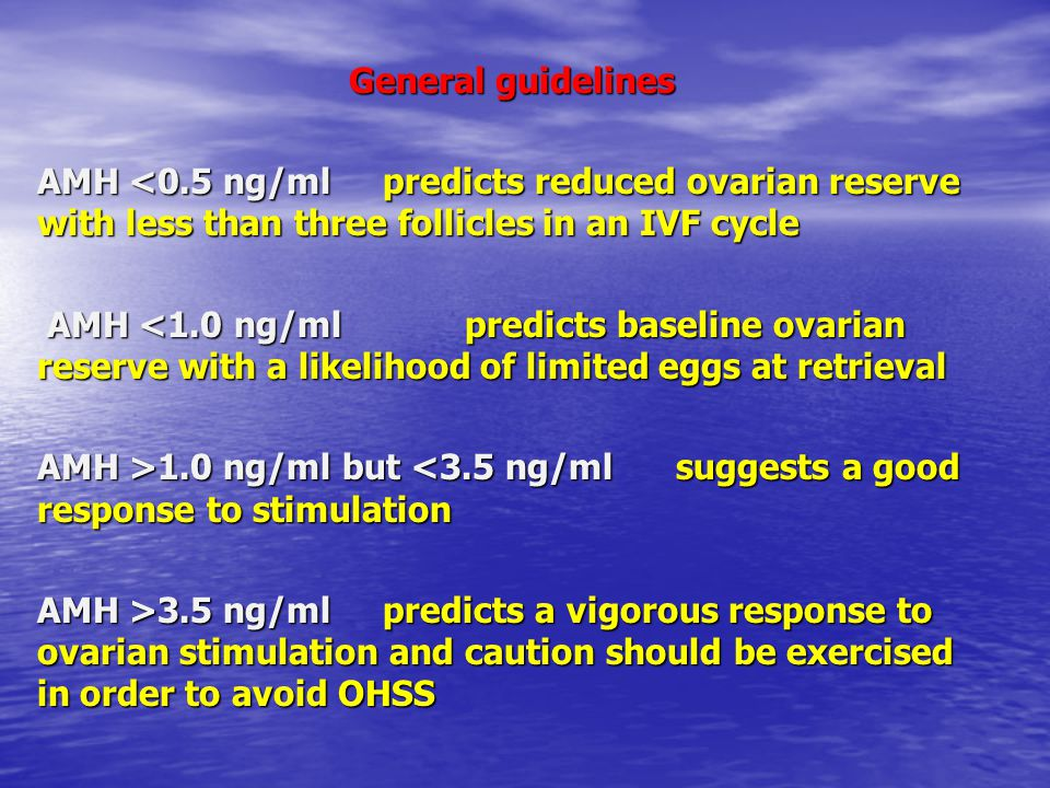General guidelines AMH <0.5 ng/ml predicts reduced ovarian reserve with less than three follicles in an IVF cycle AMH <1.0 ng/ml predicts baseline ova