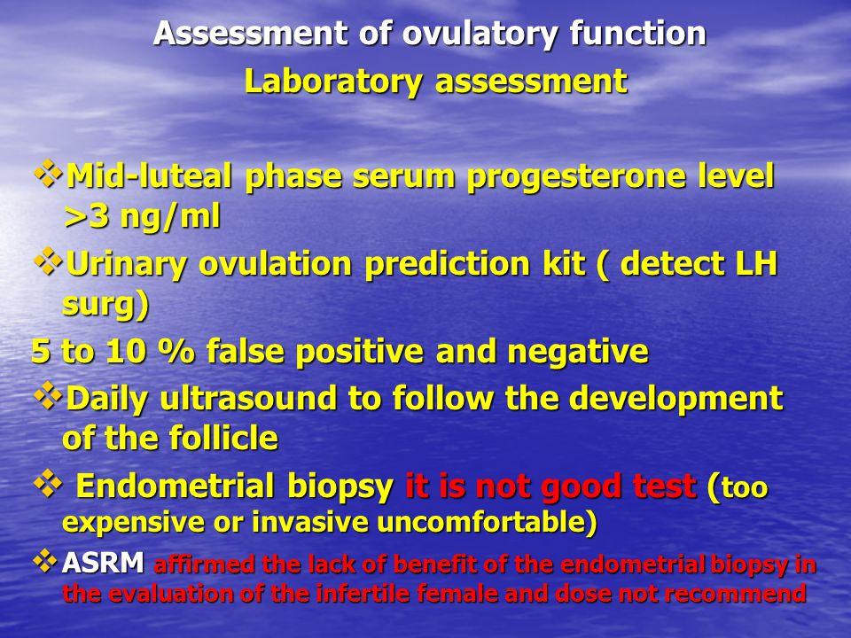 Assessment of ovulatory function Laboratory assessment Laboratory assessment  Mid-luteal phase serum progesterone level >3 ng/ml  Urinary ovulation