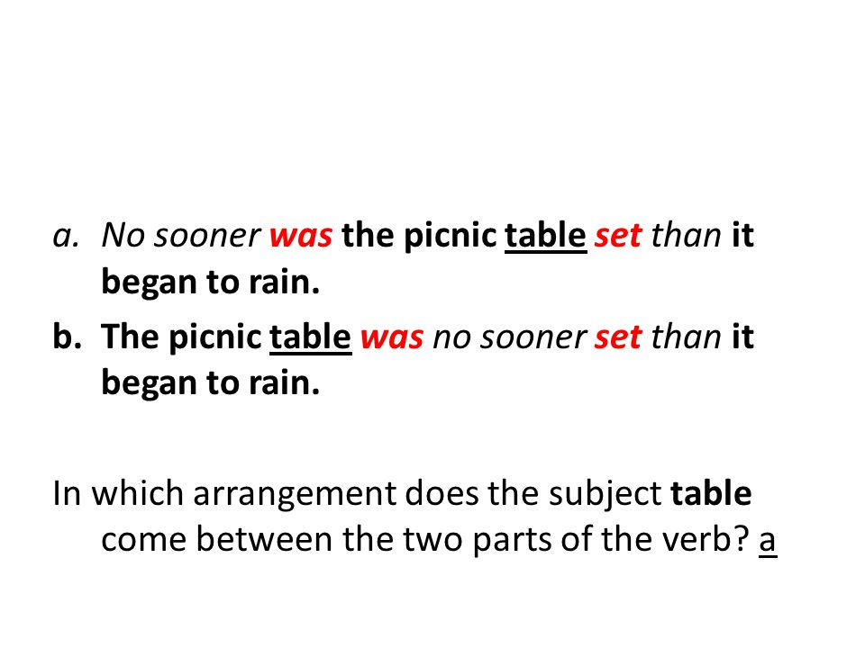 a.No sooner was the picnic table set than it began to rain.