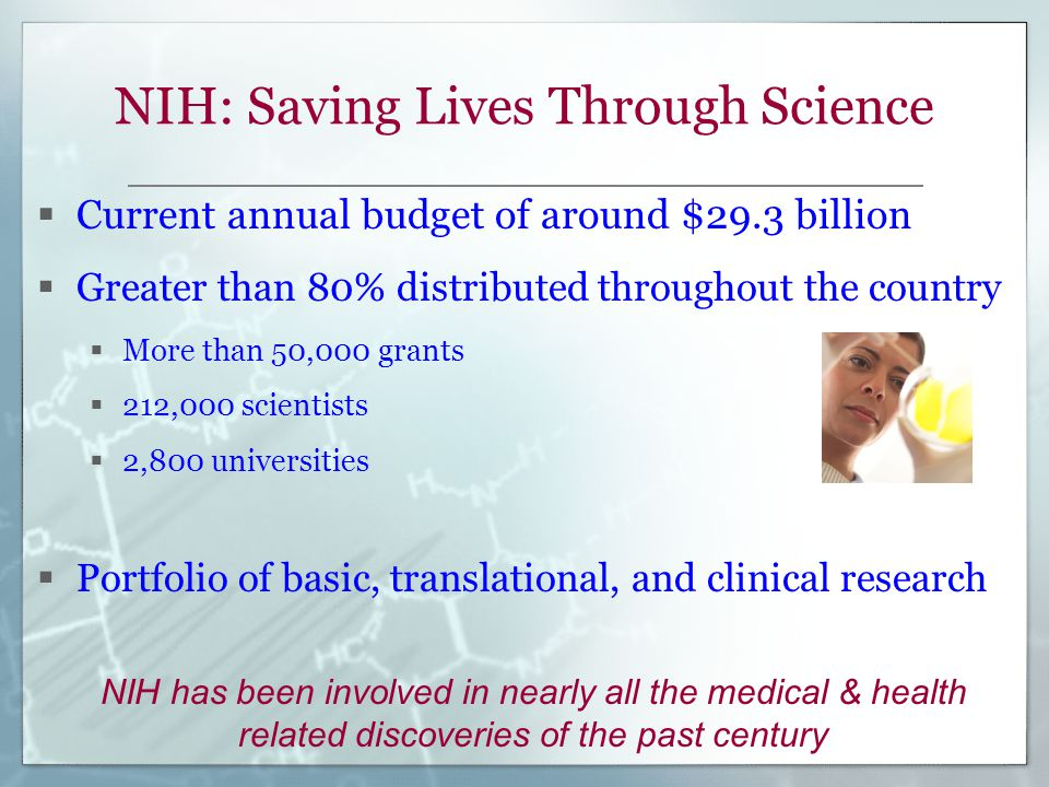 NIH: Saving Lives Through Science  Current annual budget of around $29.3 billion  Greater than 80% distributed throughout the country  More than 50,000 grants  212,000 scientists  2,800 universities  Portfolio of basic, translational, and clinical research NIH has been involved in nearly all the medical & health related discoveries of the past century