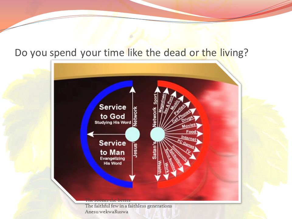 Do you spend your time like the dead or the living.