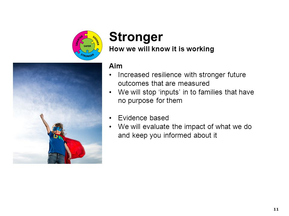 11 Stronger How we will know it is working Aim Increased resilience with stronger future outcomes that are measured We will stop 'inputs' in to families that have no purpose for them Evidence based We will evaluate the impact of what we do and keep you informed about it