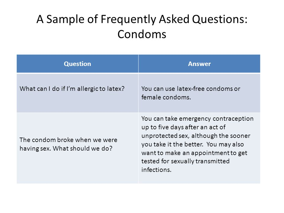 A Sample of Frequently Asked Questions: Condoms QuestionAnswer What can I do if I'm allergic to latex?You can use latex-free condoms or female condoms.