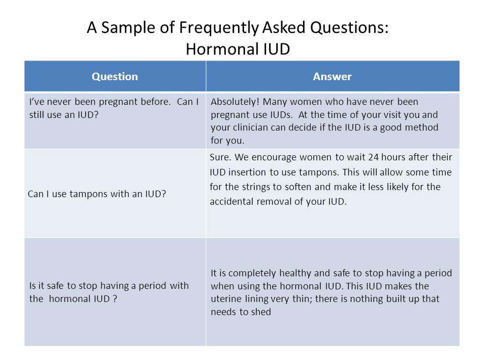A Sample of Frequently Asked Questions: Hormonal IUD QuestionAnswer I've never been pregnant before.