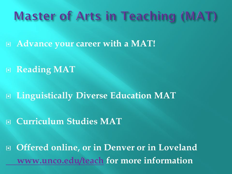  Advance your career with a MAT.
