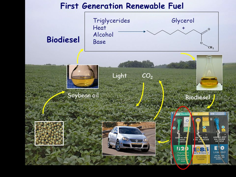 CO 2 Light Triglycerides Heat Alcohol Base Glycerol + Biodiesel Soybean oil Biodiesel First Generation Renewable Fuel