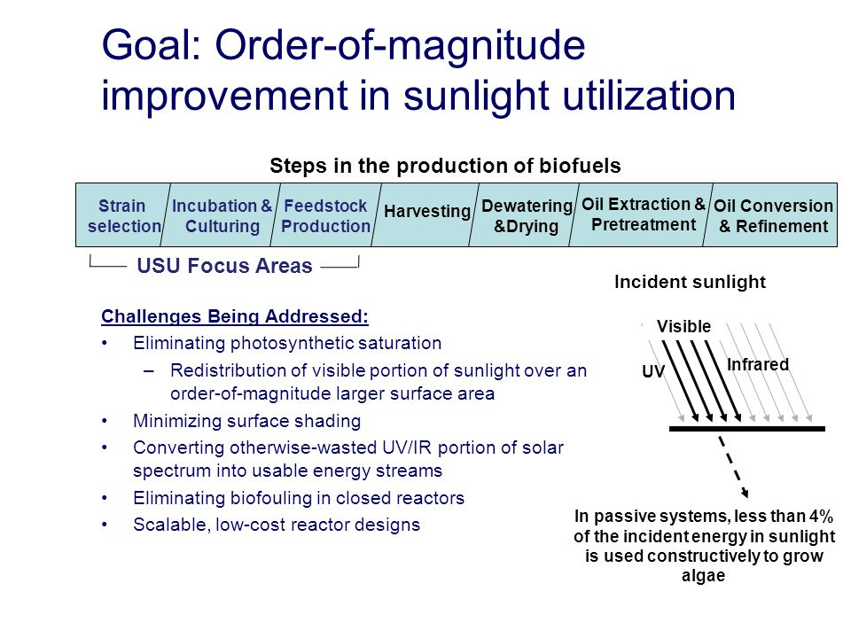 Goal: Order-of-magnitude improvement in sunlight utilization Challenges Being Addressed: Eliminating photosynthetic saturation –Redistribution of visible portion of sunlight over an order-of-magnitude larger surface area Minimizing surface shading Converting otherwise-wasted UV/IR portion of solar spectrum into usable energy streams Eliminating biofouling in closed reactors Scalable, low-cost reactor designs Strain selection Incubation & Culturing Feedstock Production Harvesting Dewatering &Drying Oil Extraction & Pretreatment Oil Conversion & Refinement UV Infrared Visible In passive systems, less than 4% of the incident energy in sunlight is used constructively to grow algae Incident sunlight Steps in the production of biofuels USU Focus Areas