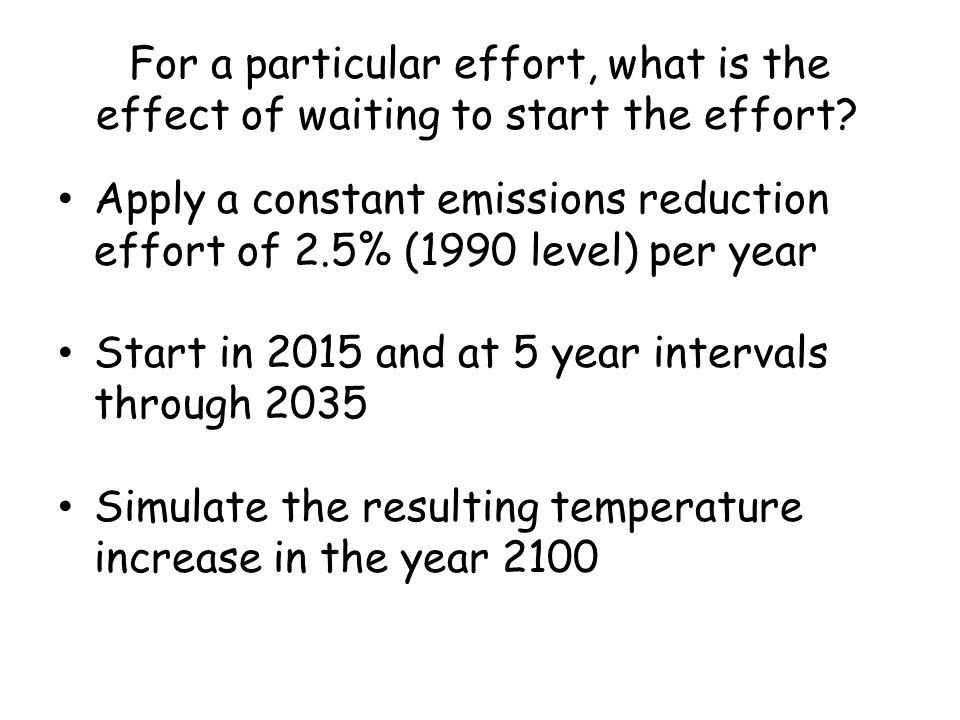 For a particular effort, what is the effect of waiting to start the effort.