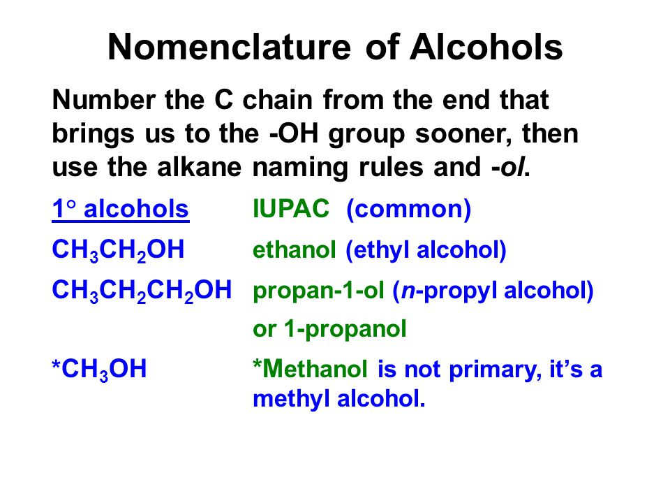 Nomenclature of Alcohols Number the C chain from the end that brings us to the -OH group sooner, then use the alkane naming rules and -ol.