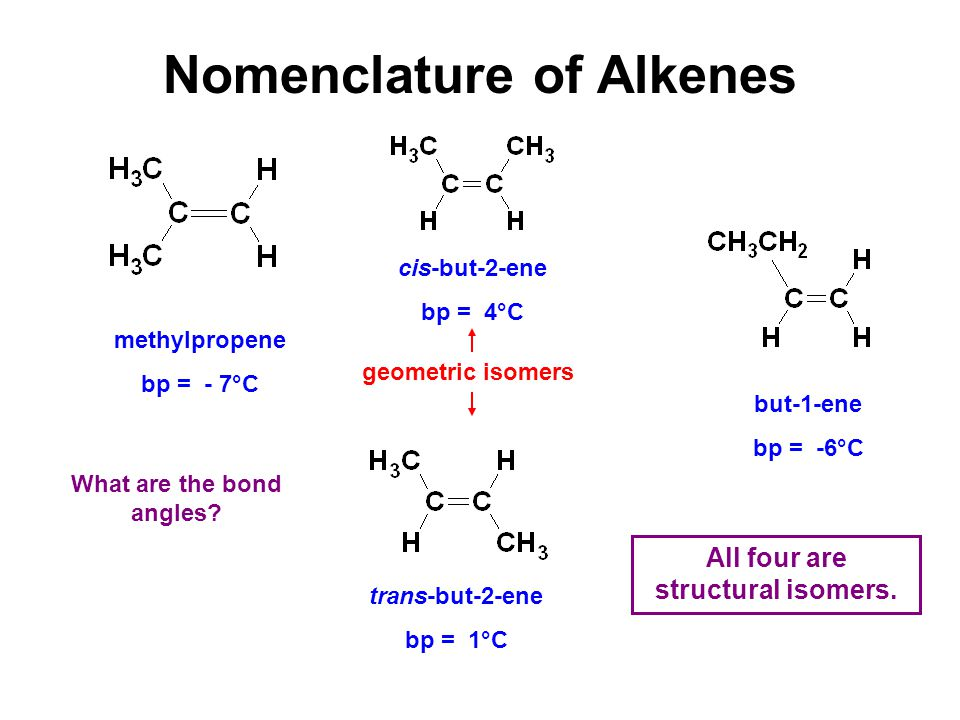 Nomenclature of Alkenes geometric isomers All four are structural isomers.
