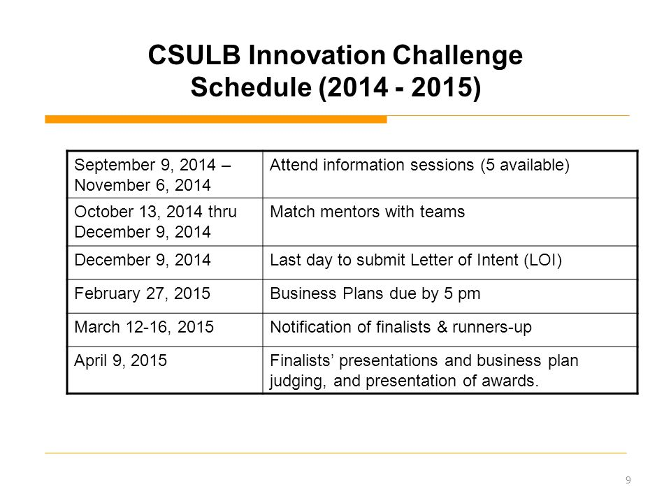 CSULB Innovation Challenge Schedule (2014 - 2015) September 9, 2014 – November 6, 2014 Attend information sessions (5 available) October 13, 2014 thru December 9, 2014 Match mentors with teams December 9, 2014Last day to submit Letter of Intent (LOI) February 27, 2015Business Plans due by 5 pm March 12-16, 2015 Notification of finalists & runners-up April 9, 2015 Finalists' presentations and business plan judging, and presentation of awards.