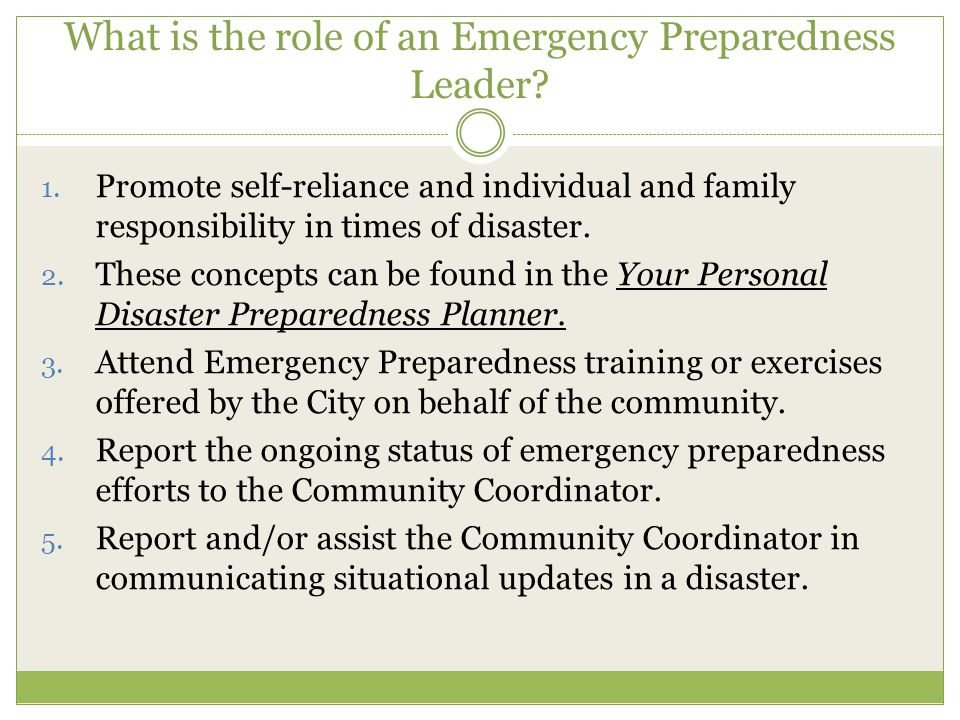 What is the role of an Emergency Preparedness Leader.