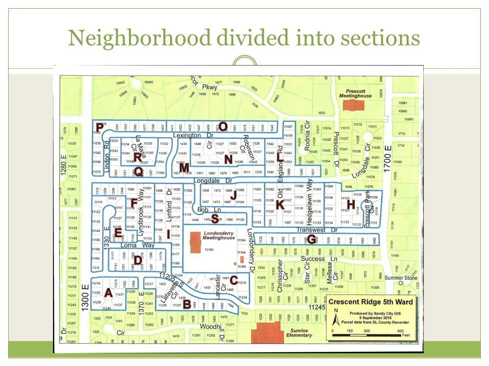 Neighborhood divided into sections