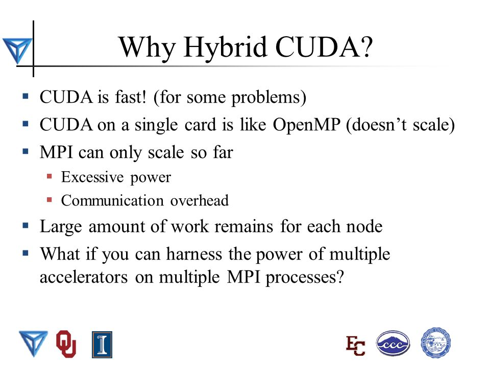 BWUPEP2011, UIUC, May 29 - June 10 2011 2 Why Hybrid CUDA.
