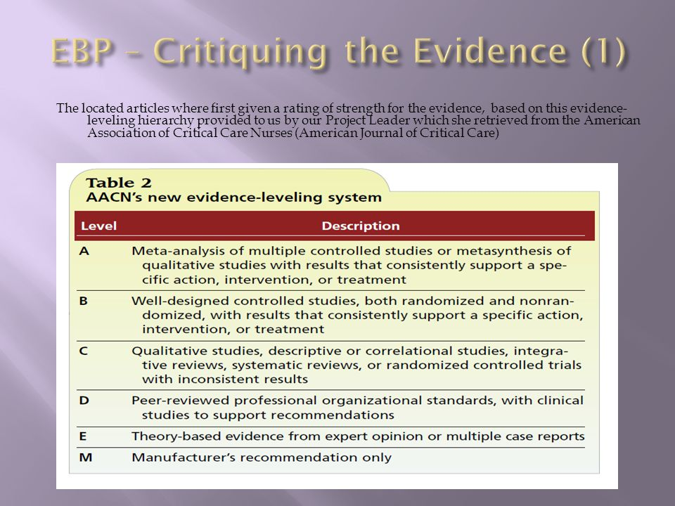 The located articles where first given a rating of strength for the evidence, based on this evidence- leveling hierarchy provided to us by our Project