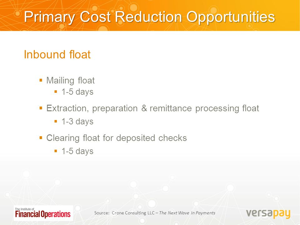 Primary Cost Reduction Opportunities Inbound float  Mailing float  1-5 days  Extraction, preparation & remittance processing float  1-3 days  Cle