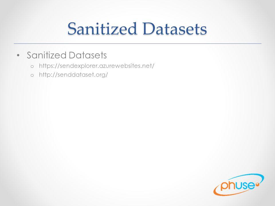 Sanitized Datasets o https://sendexplorer.azurewebsites.net/ o http://senddataset.org/