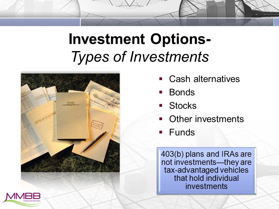 Investment Options- Types of Investments  Cash alternatives  Bonds  Stocks  Other investments  Funds 403(b) plans and IRAs are not investments—they are tax-advantaged vehicles that hold individual investments