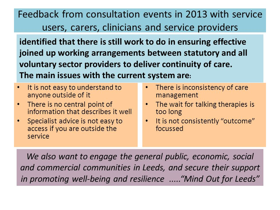 Feedback from consultation events in 2013 with service users, carers, clinicians and service providers It is not easy to understand to anyone outside of it There is no central point of information that describes it well Specialist advice is not easy to access if you are outside the service There is inconsistency of care management The wait for talking therapies is too long It is not consistently outcome focussed identified that there is still work to do in ensuring effective joined up working arrangements between statutory and all voluntary sector providers to deliver continuity of care.