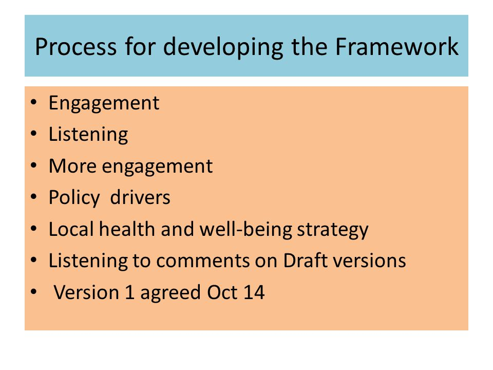 Process for developing the Framework Engagement Listening More engagement Policy drivers Local health and well-being strategy Listening to comments on Draft versions Version 1 agreed Oct 14